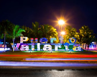 Puerto Vallarta Sign at Night