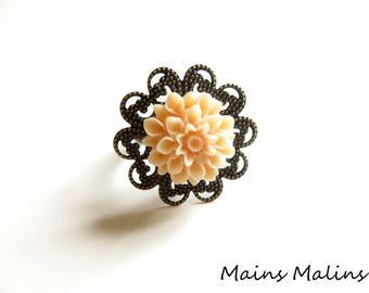 Pastel pink flower dahlia bronze filigree ring