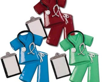Scrubs Personalized Christmas Ornament - Nurse- Each Sold Separately