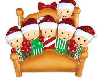 Bed Family of 6 Personalized Christmas Ornament