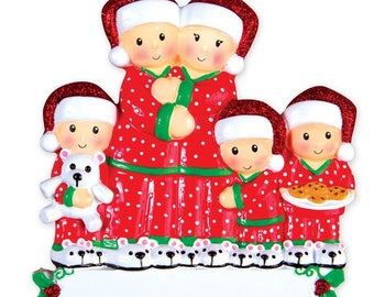 Pajama Family of 5 Personalized Christmas Ornament - White People - Matching Christmas Pajamas - Personalized Family Ornament