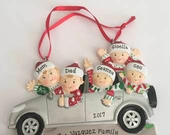 Suv (family of 5) Christmas Ornament - 5 Person Road Trip Personalized Ornament - Silver SUV - Personalized Family Ornament