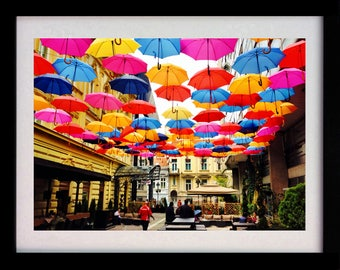 Colourful Umbrella's Print (Limited Edition of 100) - A3 Colours Poster Street Art Street Beautiful Colourful Prints Decor Wall Art Gift