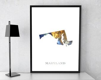 Maryland poster, Maryland state, Maryland art, Maryland map, Maryland print, Gift print, Poster