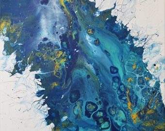 """Original Abstract Fluid Acrylic Pour Painting on 20x20 Canvas """"0004"""""""