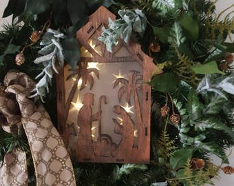 Beautiful Christmas Wreath, Very Elegant Wreath Scene from the manger Lights up