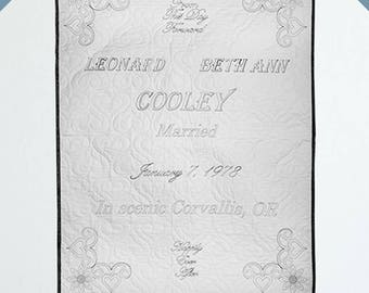 Custom Wedding Quilt - Black Thread