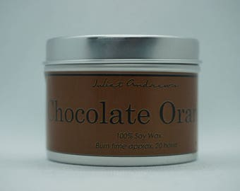 Chocolate Orange Scented Soy Candle by Juliet Andrews Candles In Brushed Metal Tin