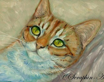 Ginger Tabby Kitten Original Oil Painting
