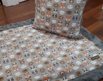 Handmade faux fur fox pillow