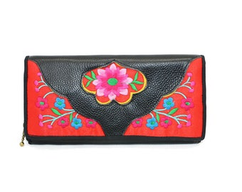 Wallet leather Floral/Floral Pattern Leather Wallet