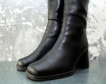 Original 80s Vintage Black Heeled High Boots Leather Zipper Retro Style