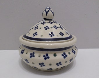 Boleslawiec pottery Sugar Bowl with lid handmade in Poland