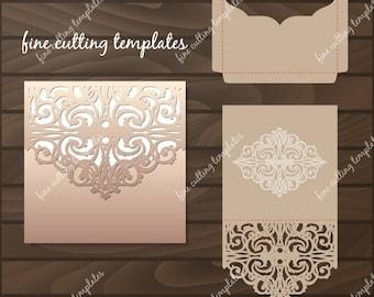 Wedding Invitation Pocket Envelope template for cutting, laser cut Digital Instant Download Cricut Cameo (svg, dxf, eps10, studio3)