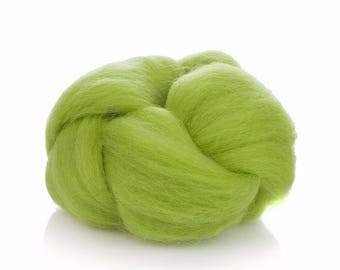 Lime Green Wool Roving - Soft Wool Roving - 24 Microns Merino Wool Roving - Felting Wool Lime - High Quality Merino Wool - Wool for Spinning