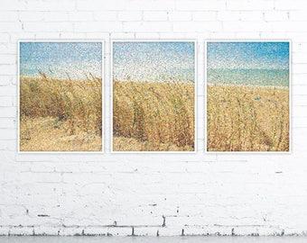 3 Poster Set, Printable Poster, Art, Living room Decor, Large Printable Poster, Digital Download, Dots, Sea, Ocean, Beach