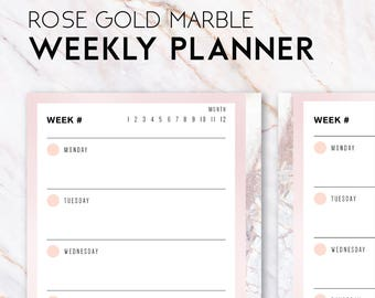 Pink rose gold planner weekly schedule planner [Instant download] [A6 printable inserts]