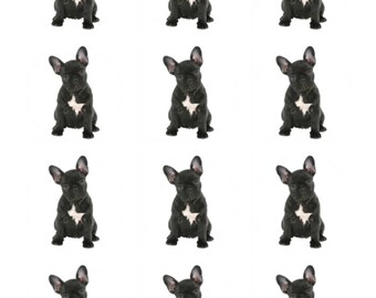12 x French Bulldog Dog Breed Edible Stand Up Wafer Cupcake Toppers x 12