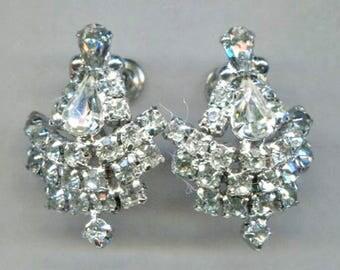 Large Clear Rhinestone Screw-Back Earrings, 1 in. by 1 1/4 in.