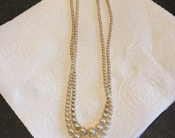 Vintage Two Strand Faux Pearl Necklace