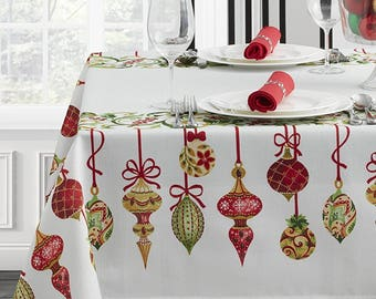 Holiday Trimmings Fabric Christmas Tablecloth, Rectangular Holiday  Tablecloth, Christmas Linen, White Tablecloth With