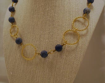 Stone and Twist Gold Ring Necklace, Bracelet, Earrings