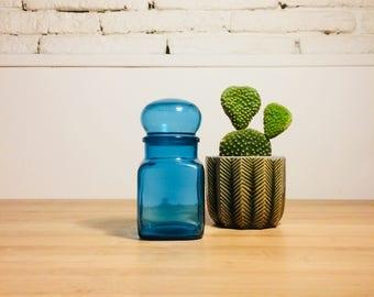 Medium apothecary jar Ariel turquoise/airtight bubble lid / Made in Belgium