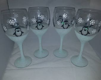 Penguin Wine Glass Etsy - Vinyl decals for glassware