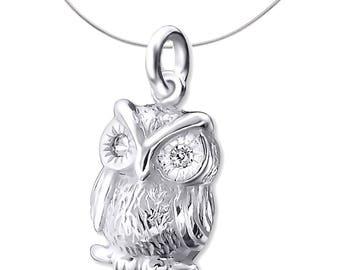 Silver Owl Pendant With Diamantes