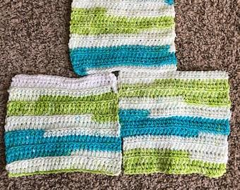 3 Crochet dishcloths