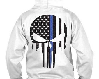 Punisher Hoodie, Police Hoodie, Thin Blue line Hoodie,  Law Enforcement Hoodie, Back the Blue Hoodie, Hoodie, Police Apparel, police gifts