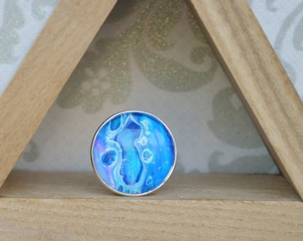hand painted, adjustable, silver ring, large round, blue, shiny, made by mountain momma maker, celestial, ocean, earthy
