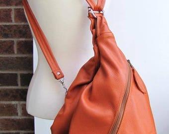 Large Orange Leather Convertible Bag