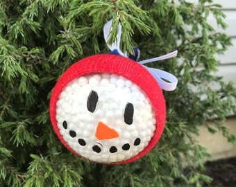 Snowman Christmas ornament // snowman in a hat ornament // hand painted christmas ornament