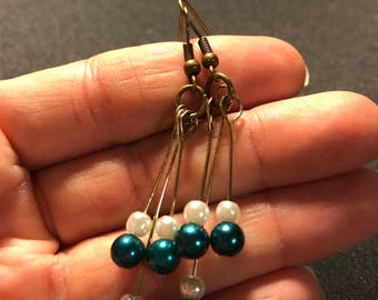 Dangle stick earrings // beaded earrings // turquoise and white beaded earrings (Jane)
