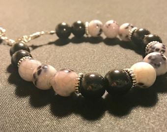 Black and white bracelet // snakeskin pattern bracelet // silver beaded bracelet