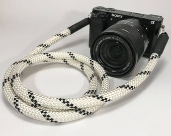 Hand-made camera strap for DSLR black white-shoulder strap-strap-camera strap-Camera Rope-Sony Olympus-Lieblingsstrap