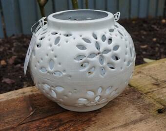 Safed White Lantern Candle Holder Tea Light Lantern White Enamel finish