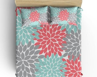 Girl Floral BEDDING Comforter- DUVET COVER, Pillowcase, Coral Aqua Gray Flower Petals- Toddler- Twin- Queen- King- Monogram Bedding Set