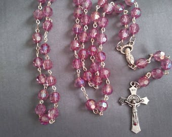 Light purple rosary. Prayer beads. Acrylic faceted round beads