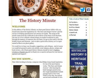 November Issue of The History Minute News