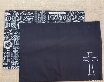 2 cotton fabric Jesus names and Cross Placemats - reversible - Hand Embroidered - ready for the dinner table
