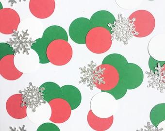 Christmas Confetti, Red Green and White with Silver Glitter Snowflake Confetti