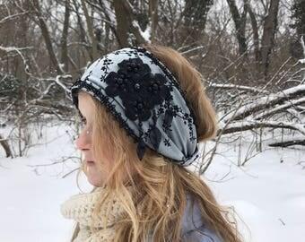 Blue and black fleece headband