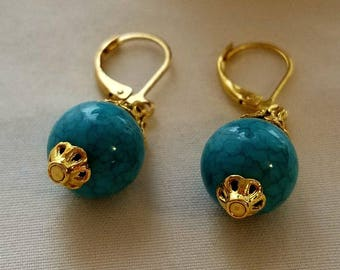 Drop Earrings Gold and Turquoise