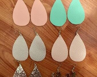Faux Leather Earrings, Teardrop Earrings, Cactus Earrings, Leather Earrings, Glitter Earrings