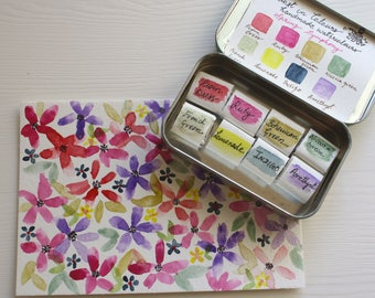 Spring Symphony- Handmade Watercolor Travel Tin Palette -Valentine's Day Gift Idea