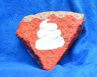 Pumpkin pie painted rock