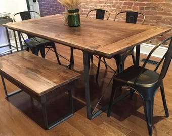 Industrial Dining Table Etsy - Industrial dining room chairs