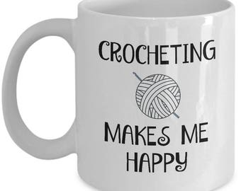 Crochet Mug - White Ceramic Crocheting Coffee Mug For Crocheters